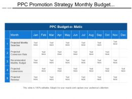 Ppc Promotion Strategy Monthly Budget Planning Matrix