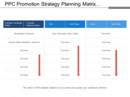 Ppc Promotion Strategy Planning Matrix With Campaign Names