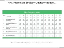 Ppc Promotion Strategy Quarterly Budget Planning Matrix