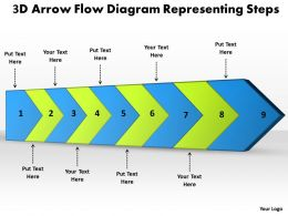 PPT 3d arrow flow diagram representing steps Business PowerPoint Templates 9 stages