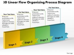 PPT 3d linear flow organizing process diagram layouts powerpoint 2003 Business Templates 4 stages