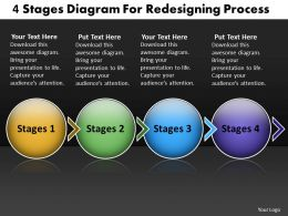 PPT 4 state diagram for redesigning process Business PowerPoint Templates 4 stages