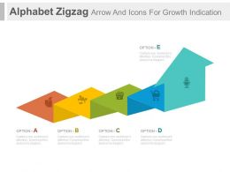 ppt Alphabet Zigzag Arrow And Icons For Growth Indication Flat Powerpoint Design