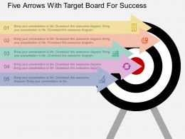 ppt Five Arrows With Target Board For Success Flat Powerpoint Design