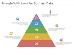 ppt Five Staged Triangle With Icons For Business Data Flat Powerpoint Design