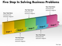 PPT five step in solving free concept problems Business PowerPoint Templates 5 stages