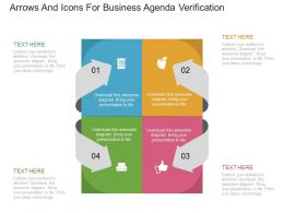 ppt Four Arrows And Icons For Business Agenda Verification Flat Powerpoint Design