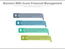 ppt Four Colored Banners With Icons Financial Management Flat Powerpoint Design