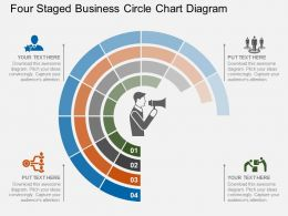 ppt Four Staged Business Circle Chart Diagram Flat Powerpoint Design