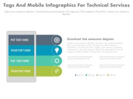 ppt Four Tags And Mobile Infographics For Technical Services Flat Powerpoint Design