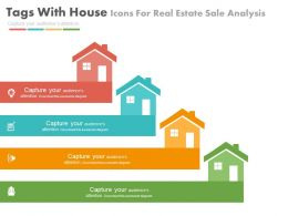 ppt Four Tags With House Icons For Real Estate Sale Analysis Flat Powerpoint Design
