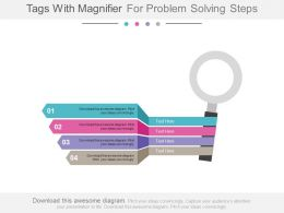 ppt Four Tags With Magnifier For Problem Solving Steps Flat Powerpoint Design