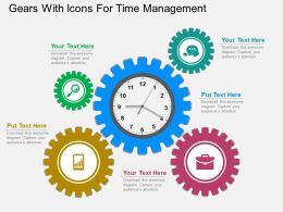 ppt Gears With Icons For Time Management Flat Powerpoint Design