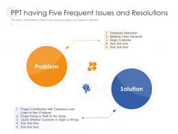 Ppt Having Five Frequent Issues And Resolutions Infographic Template