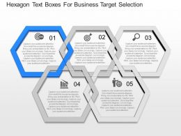 ppt Hexagon Text Boxes For Business Target Selection Powerpoint Template