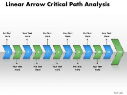 PPT linear arrow critical path analysis Business PowerPoint Templates 11 stages