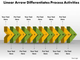 PPT linear arrow differentiates process activities Business PowerPoint Templates 12 stages