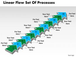 PPT linear flow set of pocesses Business PowerPoint Templates 12 stages