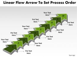 PPT linear flow shapes arrows powerpoint to set process order Business Templates 10 stages