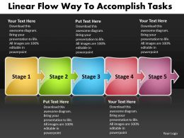 PPT linear flow way to accomplish tasks Business PowerPoint Templates 5 stages