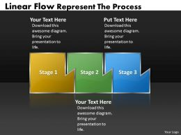 PPT linear process flow powerpoint template represent the Business Templates 3 stages