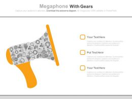 ppt_megaphone_with_gears_for_news_announcement_flat_powerpoint_design_Slide01