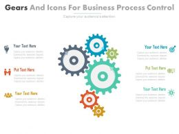 ppt Six Gears And Icons For Business Process Control Flat Powerpoint Design