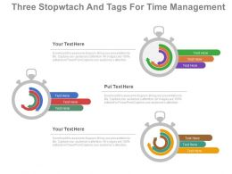 ppt Three Stopwatch And Tags For Time Management Flat Powerpoint Design