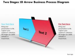 PPT two stages 3d arrow business process diagram powerpoint templates 2 stages
