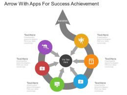 ppts_arrow_with_apps_for_success_achievement_flat_powerpoint_design_Slide01