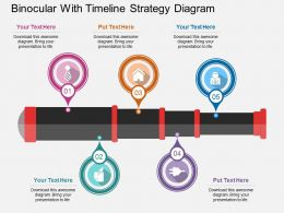 ppts Binocular With Timeline Strategy Diagram Flat Powerpoint Design