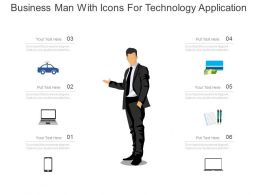 ppts Business Man With Icons For Technology Application Flat Powerpoint Design