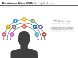 ppts Business Man With Multiple Apps For Social Media Flat Powerpoint Design