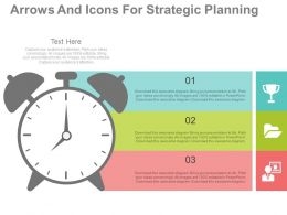 ppts Clock And Three Tags For Time Management Flat Powerpoint Design