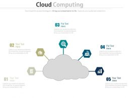 ppts Cloud With Five Icons For Computing Services Flat Powerpoint Design