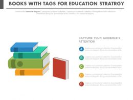 ppts Colored Books With Tags For Educational Strategy Flat Powerpoint Design