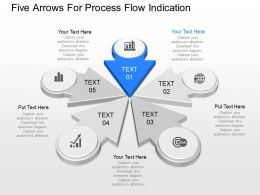ppts Five Arrows For Process Flow Indication Powerpoint Template