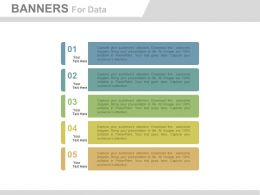 ppts Five Banners For Data Representation Flat Powerpoint Design