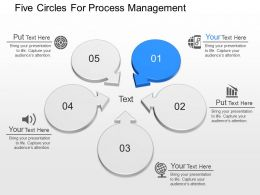 ppts Five Circles For Process Management Powerpoint Template