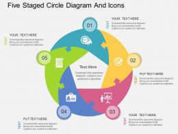 ppts Five Staged Circle Diagram And Icons Flat Powerpoint Design