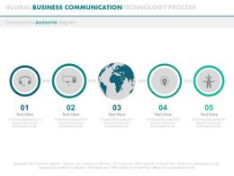 ppts Five Staged Global Business Communication Technology Process Flat Powerpoint Design