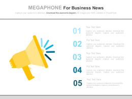 ppts_five_staged_megaphone_for_business_news_flat_powerpoint_design_Slide01