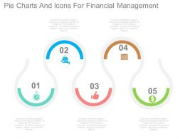 ppts Five Staged Pie Charts And Icons For Financial Management Flat Powerpoint Design