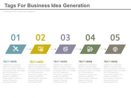 ppts Five Staged Tags For Business Idea Generation Flat Powerpoint Design