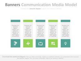 ppts Five Vertical Banners Communication Media Model Flat Powerpoint Design