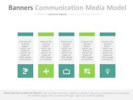ppts_five_vertical_banners_communication_media_model_flat_powerpoint_design_Slide01