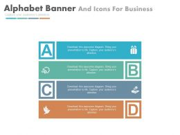 ppts Four Alphabet Banners And Icons For Business Flat Powerpoint Design
