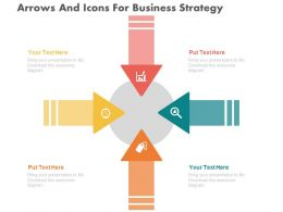 ppts Four Arrows And Icons For Business Strategy Flat Powerpoint Design