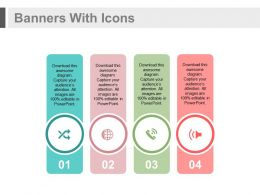 ppts Four Banners With Icons For Global Business Communication Flat Powerpoint Design