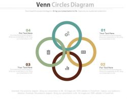 ppts Four Interconnected Circles With Business Icons Flat Powerpoint Design